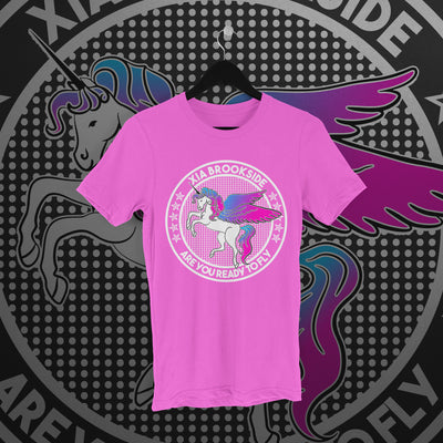 Xia Brookside: Unicorn Pink Tee - Pins & Knuckles Wrestling Merch United Kingdom