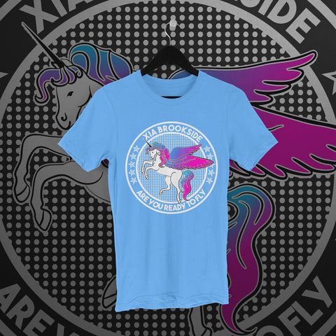Xia Brookside: Unicorn Light Blue Tee - Pins & Knuckles Wrestling Merch United Kingdom