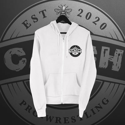 CATCH Pro-Wrestling: New Logo Zip Hoodie (white) - Pins & Knuckles Wrestling Merch United Kingdom