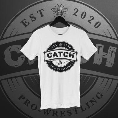 CATCH Pro-Wrestling: New Logo Tee (white) - Pins & Knuckles Wrestling Merch United Kingdom