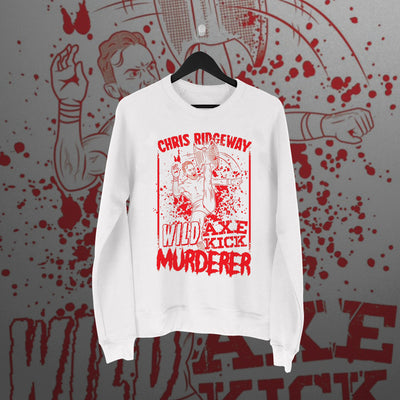 Chris Ridgeway: Wild Axe Kick Murderer White Sweater - Pins & Knuckles Wrestling Merch United Kingdom