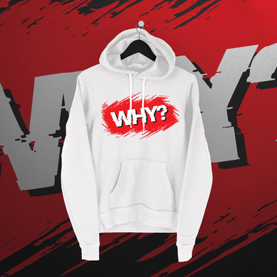 Simon Miller:  White WHY hoodie - Pins & Knuckles Wrestling Merch United Kingdom