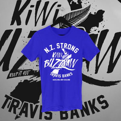 Travis Banks: NZ Strong Blue Tee - Pins & Knuckles Wrestling Merch United Kingdom