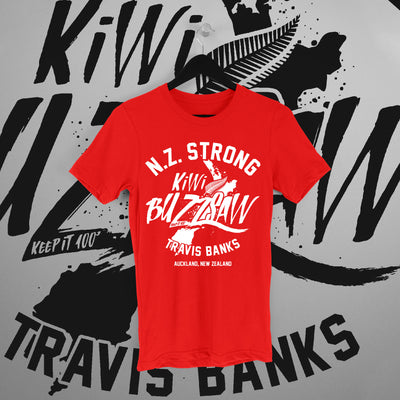 Travis Banks: NZ Strong Red Tee - Pins & Knuckles Wrestling Merch United Kingdom