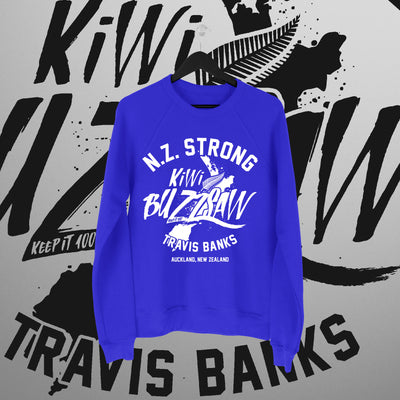 Travis Banks: NZ Strong Blue Sweater - Pins & Knuckles Wrestling Merch United Kingdom