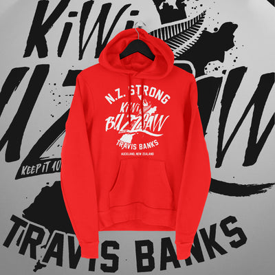 Travis Banks: NZ Strong Red Hoodie - Pins & Knuckles Wrestling Merch United Kingdom