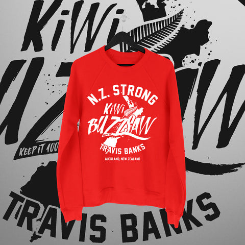 Travis Banks: NZ Strong Red Sweater - Pins & Knuckles Wrestling Merch United Kingdom