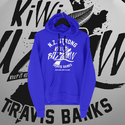 Travis Banks: NZ Strong Blue Hoodie - Pins & Knuckles Wrestling Merch United Kingdom