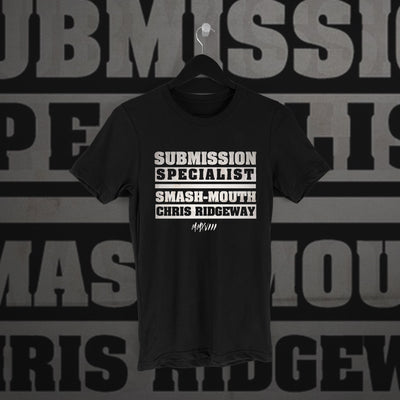 Chris Ridgeway: Submission Specialist Black Tee - Pins & Knuckles Wrestling Merch United Kingdom