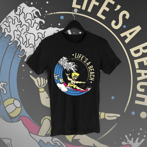 Chuck Mambo: Life's a Beach Black Tee - Pins & Knuckles Wrestling Merch United Kingdom