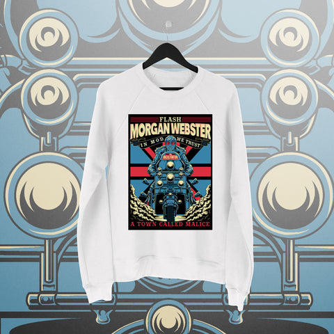 Flash Morgan: A Town Called Malice White Sweatshirt - Pins & Knuckles Wrestling Merch United Kingdom