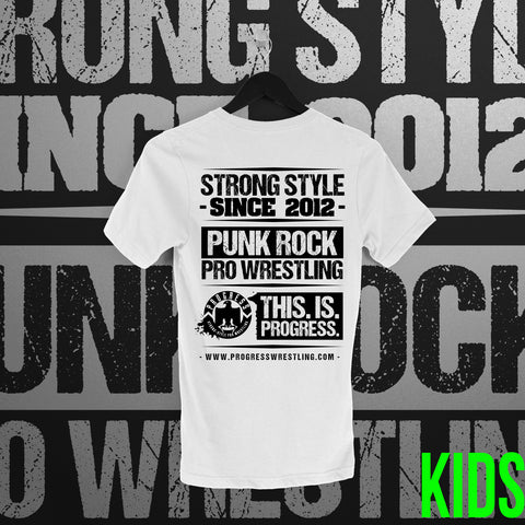 PROGRESS Wrestling:  Classic Logo White Tee - Pins & Knuckles Wrestling Merch United Kingdom