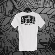 Fighting Spirit Pro: Emblem White Tee - Pins & Knuckles Wrestling Merch United Kingdom