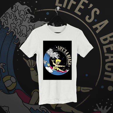Chuck Mambo: Life's a Beach White Tee - Pins & Knuckles Wrestling Merch United Kingdom