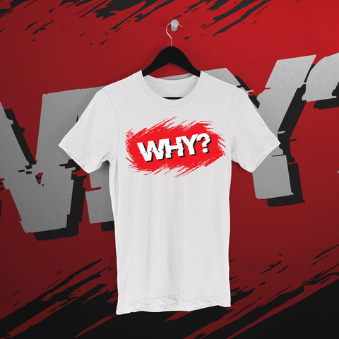 Simon Miller: White WHY tee - Pins & Knuckles Wrestling Merch United Kingdom