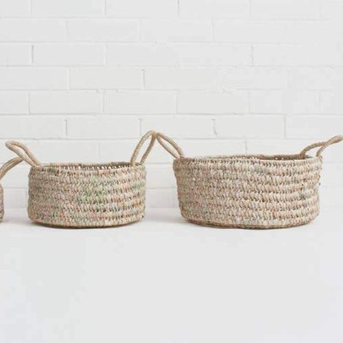 Open Woven Storage Baskets Set of 2