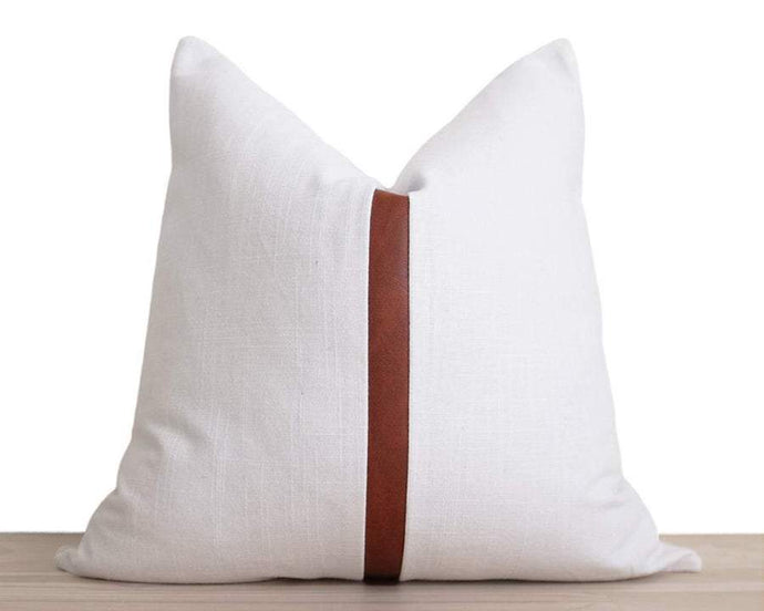 Off White Linen Pillow + Leather Stripe Cover