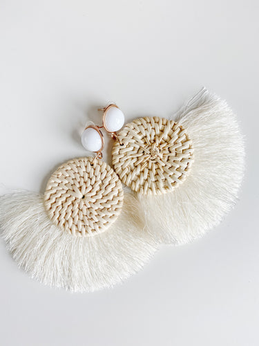 Raffia and Fringe Round Earrings