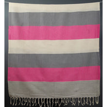 Load image into Gallery viewer, Fuschia + Gray Striped Towel