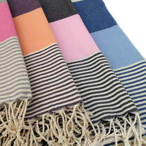Fuschia + Gray Striped Towel