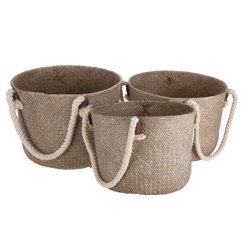 Rope Handled and Leather Baskets (3 Sizes)