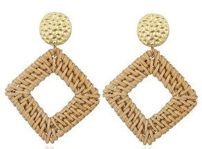 Natural Woven Earrings with Hammered Top
