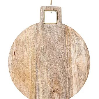 Natural Wood Cutting Board with Brass Trim