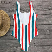 One Piece Swimwear Monokini Padded Swim Suit Retro Bodysuit Bathing Suit High Cut Beach Wear - Verde Limon Panama