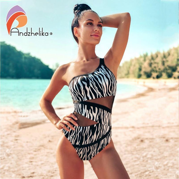 Black White zebra Print Swimwear One Piece Swimsuit  Push Up Padded Mesh High Waist - Verde Limon Panama