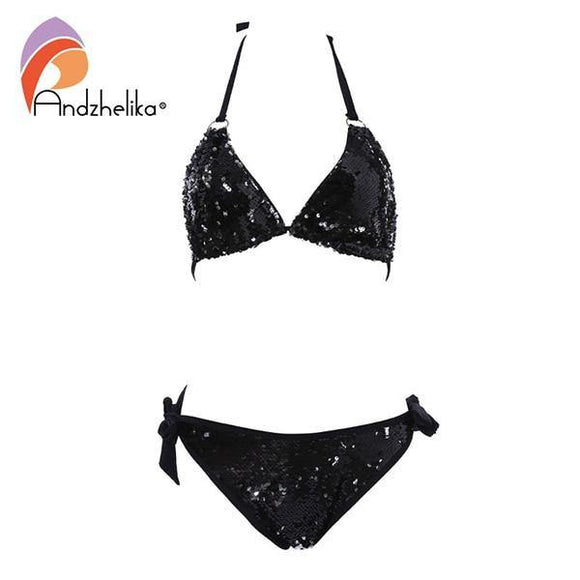 New Bikini Double-sided Sequin Bikini Set Brazilian Swimsuit Beach Swimwear