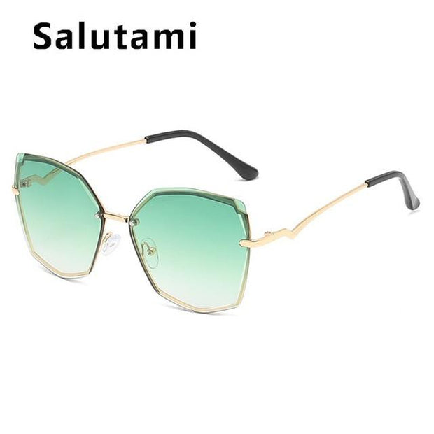 Cuting Rimless Cat Eye Sunglasses  Uv400 - Verde Limon Panama