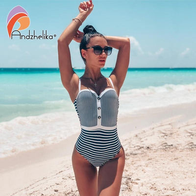 Striped One Piece Swimsuit Women Bandeau Bathing Suit Summer Push Up Monokini Print - Verde Limon Panama