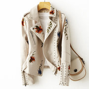FTLZZ New  Retro Floral Print Embroidery Faux Soft Leather Jacket