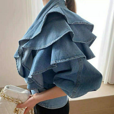 Jackets Denim Ruffles Solid  Short