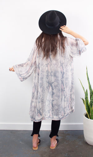 Slither This Way Snake Print Kimono