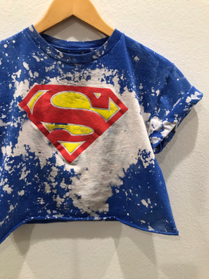KIDS : Superman Acid Wash Crop Tee