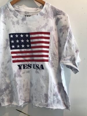 YES USA Tie Dye Crop Tee
