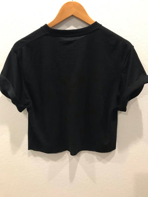 V Basketball Black  Crop Tee