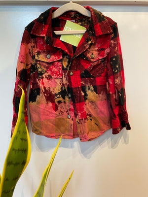 KIDS : Red/BlackAcid Wash Flannel : 3T (#106)
