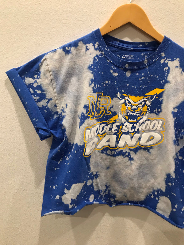 NLR Middle School Band Acid Wash Crop Tee