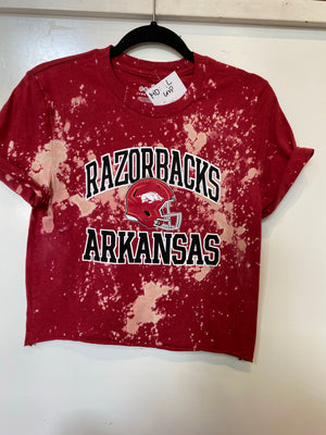KIDS : Razorbacks Arkansas Crop Tee: Large (#140
