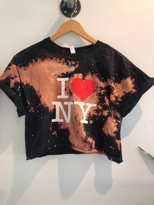 I LOVE NYC Black Acid Wash Crop Tee