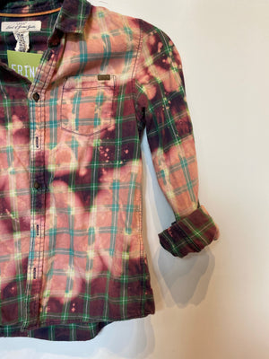 KIDS : Plaid Flannel Button Down : Size 9-10 (#153)