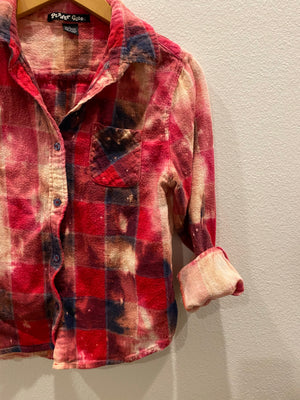 KIDS : Red Acid Wash Flannel : size Large