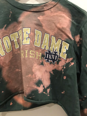 Notre Dame  Long Sleeve Acid Wash Crop Tee