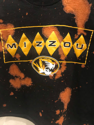 Mizzou Tigers Acid Wash Crop Tee