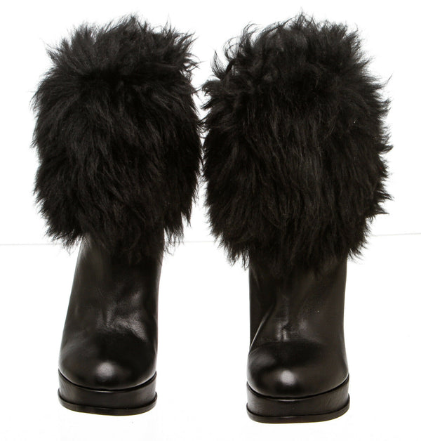 Escada Black Leather Fur-Trimmed Boots (Size 38)