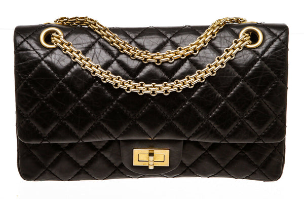 Details about  Chanel Black Calfskin Reissue 2.55 Flap 225 Bag