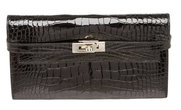 Hermes Black Alligator Kelly Classic Wallet