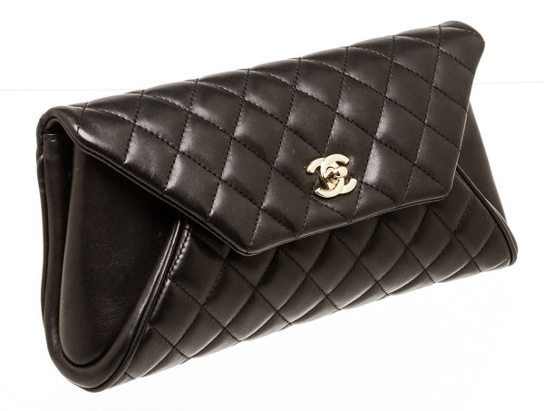 Chanel Black Lambskin Envelope Clutch